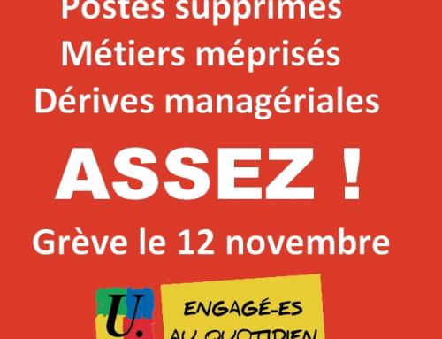 Casse du statut de fonctionnaire, management et ses dérives, austérité pour l'Éducation, tous en grève le 12 novembre