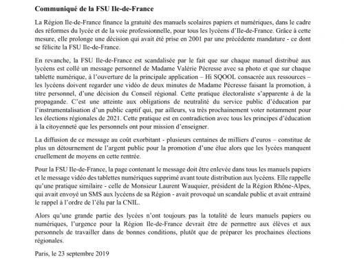 Communiqué de la FSU Ile-de-France