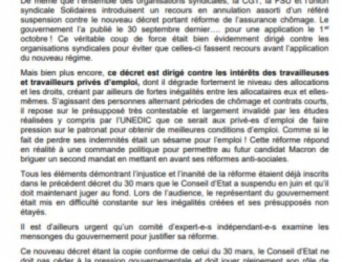 Décret assurance chômage : à nouveau, la CGT, FSU et Solidaires font recours contre la catastrophe sociale annoncée !